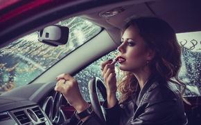 Picture machine, girl, watch, makeup, lipstick, ring, jacket, lips, brown hair, car, manicure, kozhanka