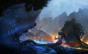 Picture trees, mountains, river, fantasy, rain, butterfly, robot, umbrella, art
