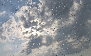 Wallpaper drops, clouds, the sky, texture, water, rain, background, glass, macro