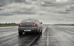 Picture wet, field, forest, asphalt, drops, rain, overcast, Jaguar, rear view, 2017, 575 HP, XJR 575