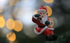 Picture toy, Santa Claus, figure, bokeh