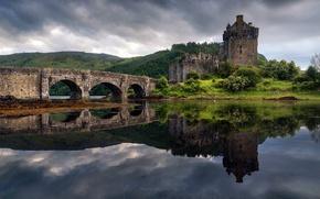 Picture bridge, island, spring, Scotland, the Eilean Donan castle, the Lough Duich