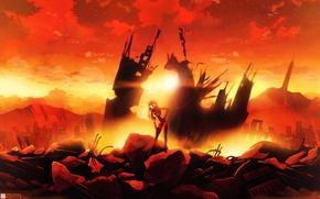 Wallpaper sunset, clouds, the sky, the sun, girl, ruins, the city, anime, home, soryu asuka langley, ...