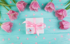 Picture love, flowers, gift, tulips, love, pink, fresh, wood, pink, flowers, beautiful, romantic, tulips, gift, spring, …
