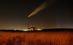 Picture field, night, lights, factory, industrial landscape