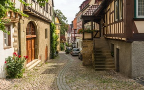 Picture auto, street, home, Germany, ladder, Germany, street, houses, bad