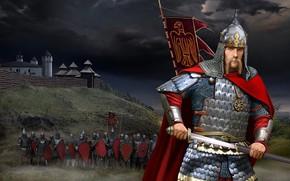 Picture figure, Sword, Warrior, Helmet, Kolovrat, squad, Segmented-plate armor, Ancient Rus, Slavic, Kite shield