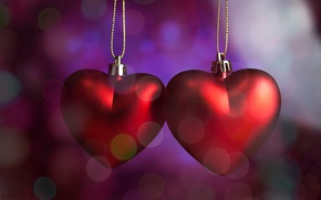 Picture hearts, red, love, romantic, hearts, bokeh, Valentine's Day