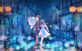 Wallpaper costume, lights, street, white dress, puddles, home, bouquet, two, the guy with the girl, date, ...