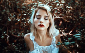 Picture girl, face, mood, makeup, the bushes