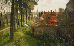 Picture trees, home, brick, path, impressionism, Frits Thaulov, Northern European painting, The Parish Priest