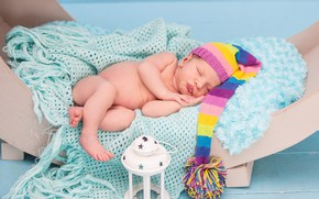 Picture hat, sleep, boy, sleeping, fur, plaid, baby, cot