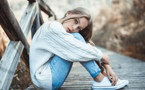 Picture girl, Model, long hair, photo, blue eyes, beauty, lips, jeans, face, blonde, sitting, portrait, pants, …