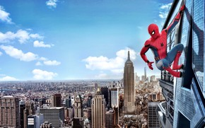 Picture city, cinema, spider, sky, cloud, man, boy, Marvel, movie, Spider-man, hero, film, mask, Spiderman, uniform, ...