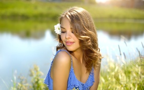 Picture greens, flower, summer, girl, the sun, nature, dress, hairstyle, brown hair, river, bokeh