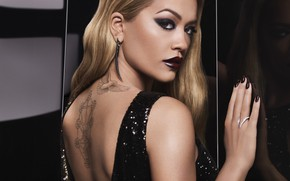 Picture portrait, look, tattoo, singer, back, ring, Rita Ora, tattoo