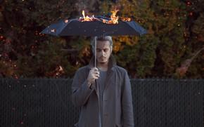 Wallpaper fire, umbrella, people