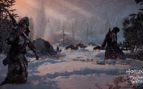 Picture robot, blizzard, mecha, weapon, machine, snow, hunter, Horizon Zero Dawn, Horizon Zero Dawn: The Frozen …