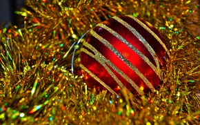 Picture red, holiday, ball, New Year, Christmas, decoration, gold, tinsel, New Year