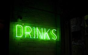 Picture light, green, green, the inscription, lamp, tube, neon, backlight, booze, neon, drinks, neon lights, neon …