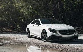 Wallpaper Mercedes, AMG, Water, Coupe, White, Forest, S63