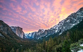 Wallpaper landscape, mountains, Nature, trees, sunrise