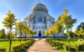 Picture trees, HDR, track, Cathedral, temple, Russia, cathedral, St. Petersburg, St. Petersburg, temples, Brasov
