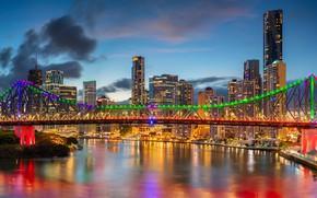 Picture bridge, river, building, home, Australia, skyscrapers, Australia, Queensland, Brisbane, Brisbane, QLD, The Brisbane River, Brisbane …