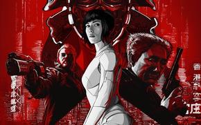 Wallpaper fiction, Scarlett Johansson, art, Scarlett Johansson, action, poster, Ghost in the shell, Ghost in the ...