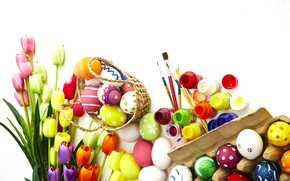 Picture flowers, flowers, Happy, eggs, spring, tulips, tulips, Easter, eggs, Easter, wood, colorful, decoration, spring