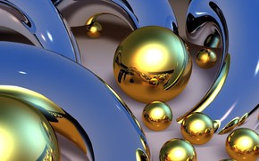 Wallpaper abstraction, picture, metal mold, curves, Wallpaper, line, blue background, Golden balls, Shine, the reflection of ...