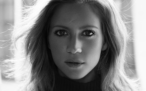 Picture look, portrait, makeup, actress, hairstyle, black and white, sweater, Brittany Snow, Yahoo Style, Alisha Goldstein, …