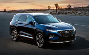 Picture sunset, Hyundai, crossover, Santa Fe, 2019