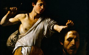 Wallpaper David with Head of Goliath, picture, Michelangelo Merisi da Caravaggio, mythology