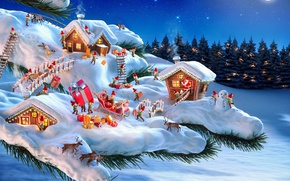 Wallpaper winter, forest, snow, night, needles, bridge, holiday, home, branch, gifts, dwarves, sleigh