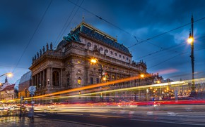 Picture road, street, the building, Prague, Czech Republic, lantern, Prague, Czech Republic, National Theatre, National theatre