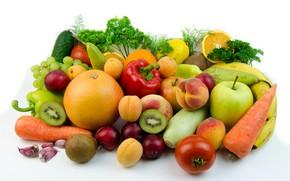 Picture greens, table, lemon, Apple, oranges, kiwi, cucumber, white background, pear, pepper, fruit, banana, vegetables, peaches, …