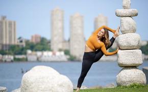 Wallpaper pose, Alexa, gymnastics, girl, stretching, legs, stones