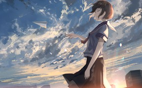Picture the sky, girl, anime