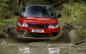 Picture road, forest, water, wave, plants, puddle, dirt, SUV, Land Rover, black and red, Range Rover …