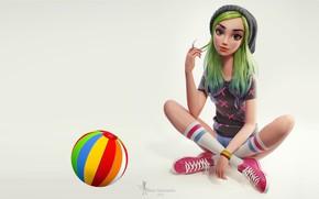Wallpaper Nazar Noschenko, girl, Green hair girl, girl, art