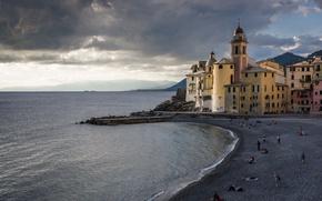 Picture sea, beach, shore, Italy, Church, Italy, travel, Camogli, Liguria, basilica