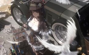 Picture car, girl, dress, hat, anime, books, driver, vintage car, workshop, anime girl, miniskirt, minidress, Novelance