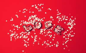 Wallpaper love, red, background, Love, hearts, Valentine's day