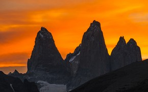 Picture the sky, mountains, top, glow, peak, Chile, Magallanes