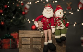 Picture holiday, toys, new year, Christmas, snowman, tree, box, Santa Claus, bokeh