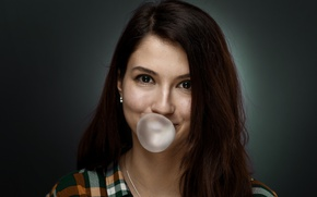 Picture eyes, look, girl, face, chewing gum