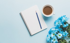 Picture flowers, coffee, handle, Notepad, Chrysanthemum
