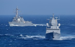 Picture ships, exercises, maneuvering, Navy