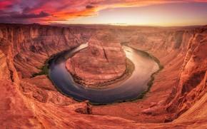 Picture river, rocks, canyon, USA, Horseshoe (Horseshoe Bend)